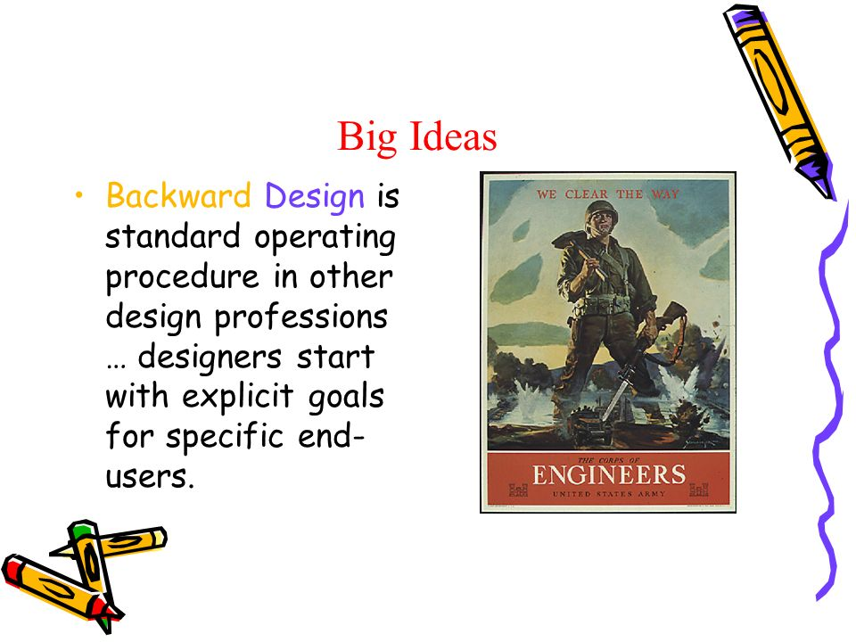 Big Ideas Backward Design is standard operating procedure in other design professions … designers start with explicit goals for specific end- users.