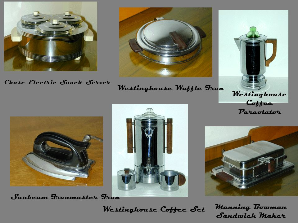 Chase Electric Snack Server Westinghouse Waffle Iron Westinghouse Coffee Percolator Sunbeam Ironmaster Iron Westinghouse Coffee Set Manning Bowman San
