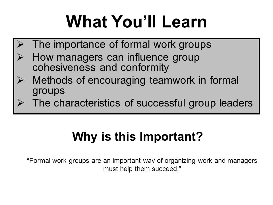 What Youll Learn The importance of formal work groups How managers can influence group cohesiveness and conformity Methods of encouraging teamwork in