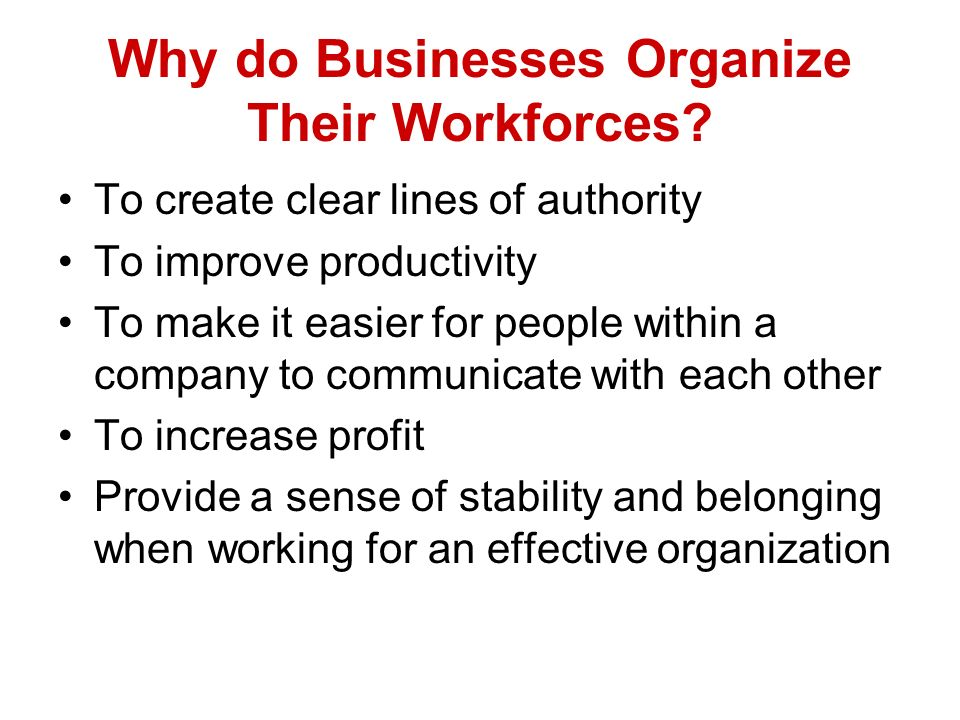 Why do Businesses Organize Their Workforces? To create clear lines of authority To improve productivity To make it easier for people within a company
