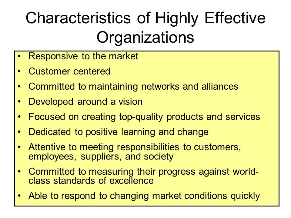 Characteristics of Highly Effective Organizations Responsive to the market Customer centered Committed to maintaining networks and alliances Developed