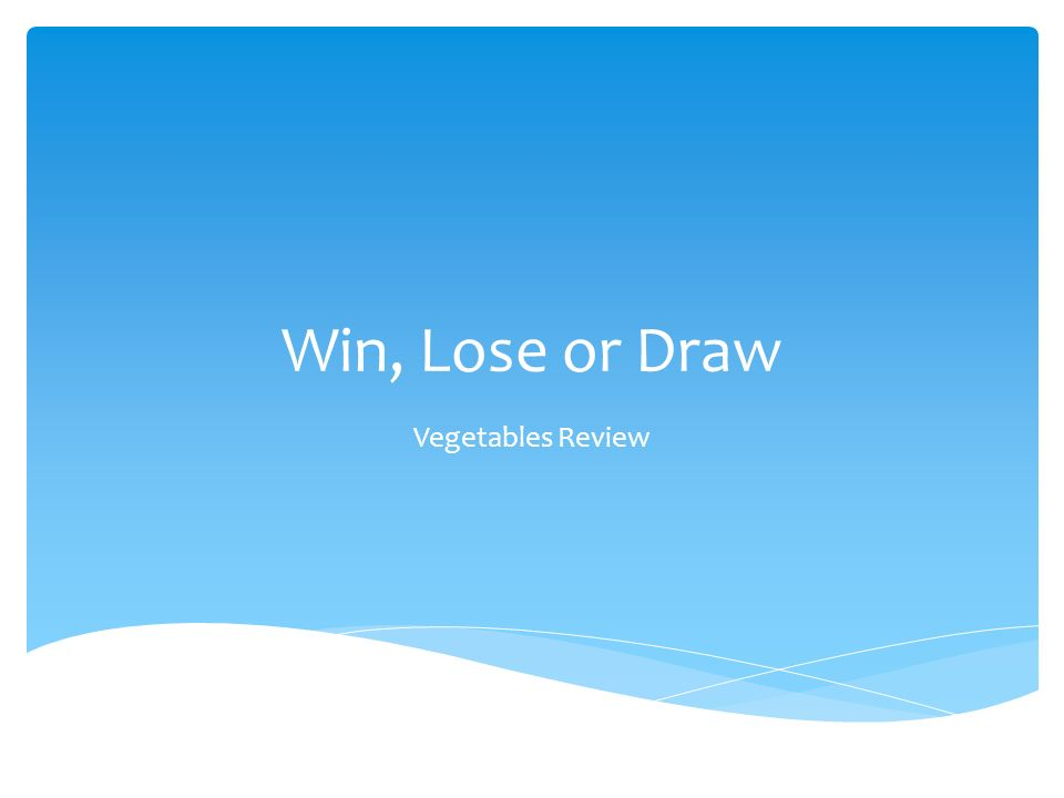 Win, Lose or Draw Vegetables Review