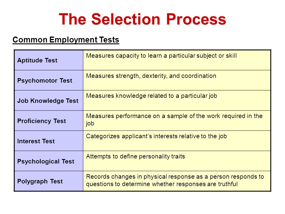 The Selection Process Common Employment Tests Aptitude Test Measures capacity to learn a particular subject or skill Psychomotor Test Measures strengt