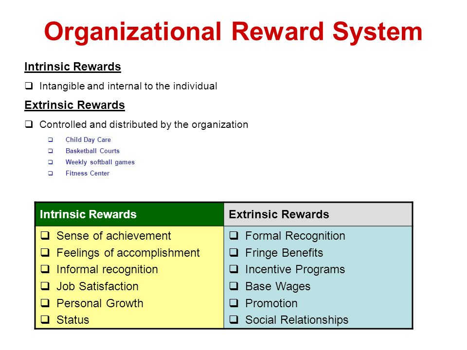 Organizational Reward System Intrinsic Rewards Intangible and internal to the individual Extrinsic Rewards Controlled and distributed by the organizat
