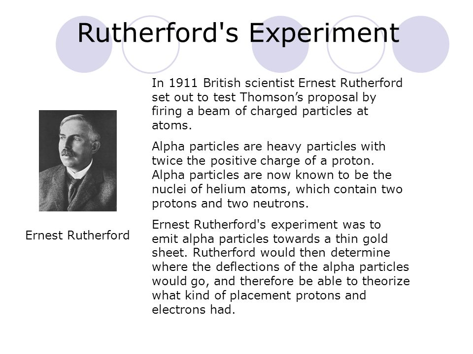 Rutherford's Experiment In 1911 British scientist Ernest Rutherford set out to test Thomsons proposal by firing a beam of charged particles at atoms.