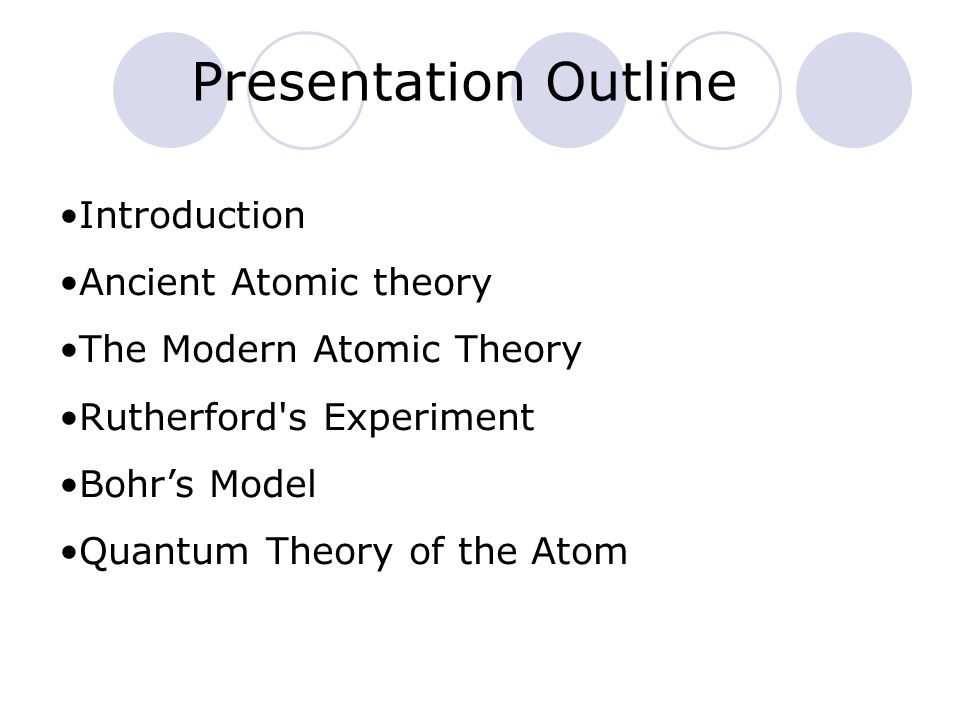 Presentation Outline Introduction Ancient Atomic theory The Modern Atomic Theory Rutherford's Experiment Bohrs Model Quantum Theory of the Atom