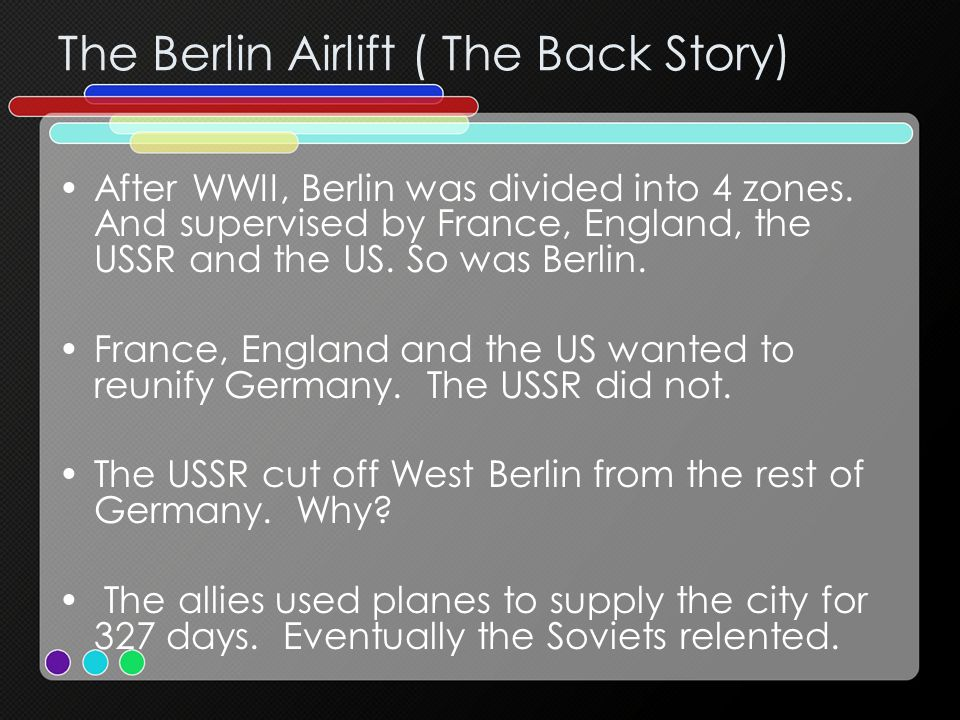 Germany After the war Germany was divided into 2 parts. East (communist) and West (democratic). Berlin was also divided.