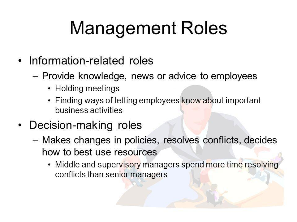 Management Roles Information-related roles –Provide knowledge, news or advice to employees Holding meetings Finding ways of letting employees know abo