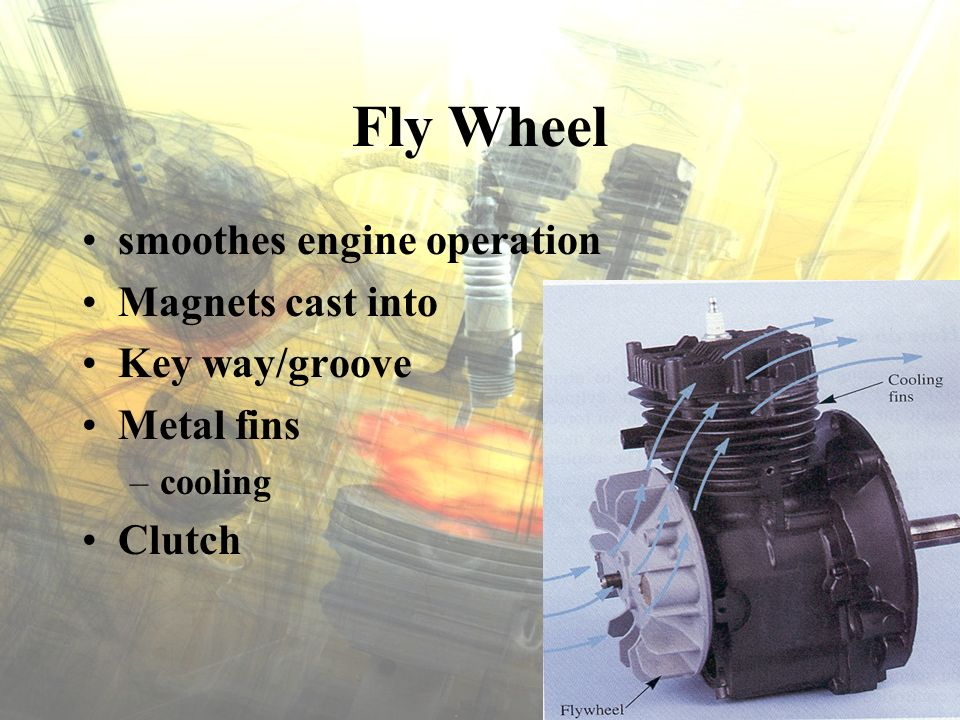 Fly Wheel smoothes engine operation Magnets cast into Key way/groove Metal fins –cooling Clutch