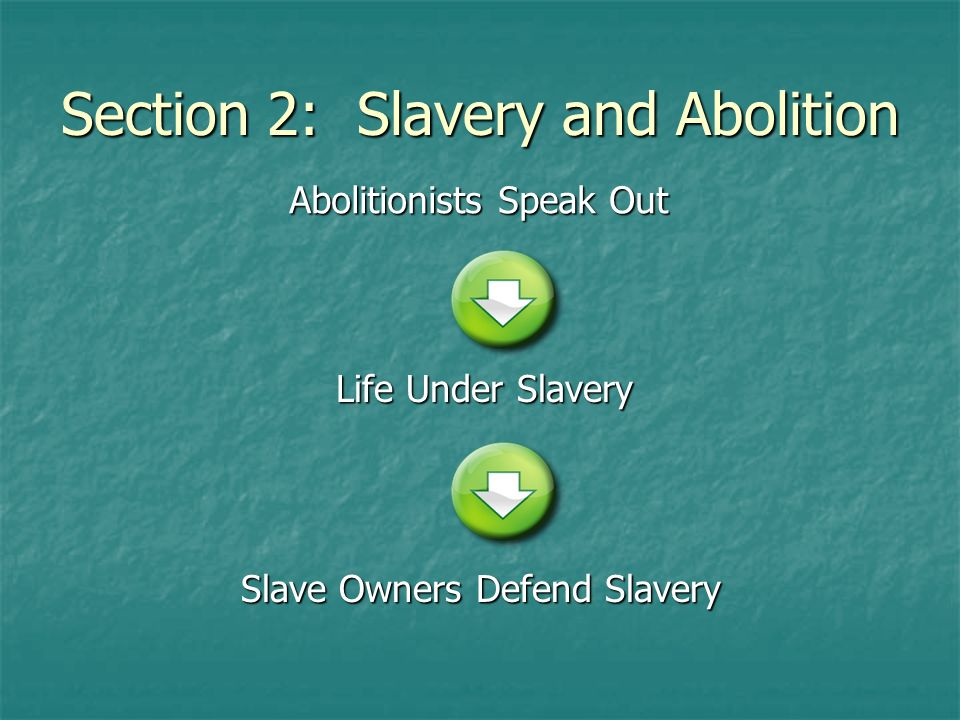 Section 2: Slavery and Abolition Abolitionists Speak Out Life Under Slavery Slave Owners Defend Slavery