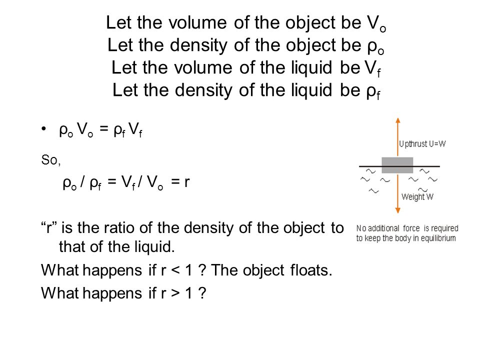 Let the volume of the object be V o Let the density of the object be ρ o Let the volume of the liquid be V f Let the density of the liquid be ρ f ρ o