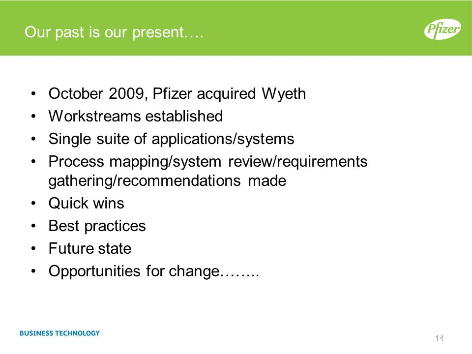 Our past is our present…. October 2009, Pfizer acquired Wyeth Workstreams established Single suite of applications/systems Process mapping/system revi