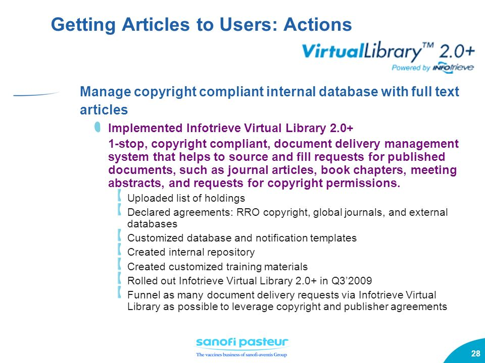 28 Getting Articles to Users: Actions Manage copyright compliant internal database with full text articles Implemented Infotrieve Virtual Library 2.0+