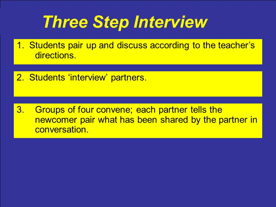 Three Step Interview 2. Students interview partners. 3.Groups of four convene; each partner tells the newcomer pair what has been shared by the partne