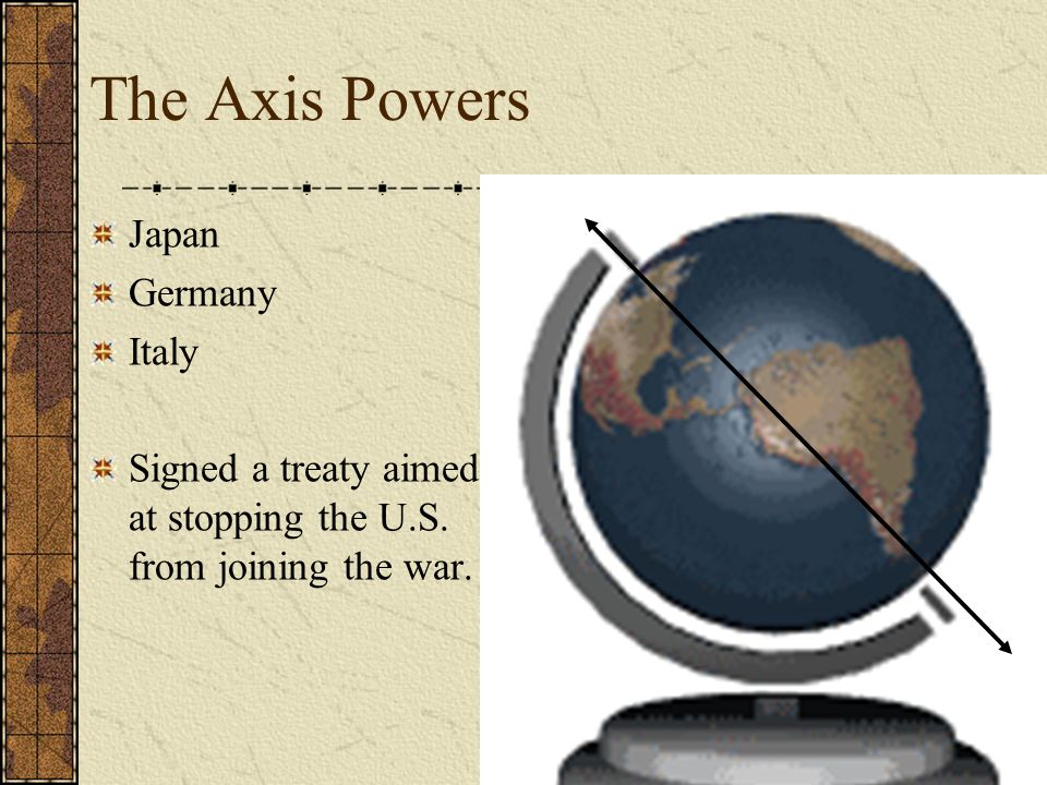 The Axis Powers Japan Germany Italy Signed a treaty aimed at stopping the U.S.