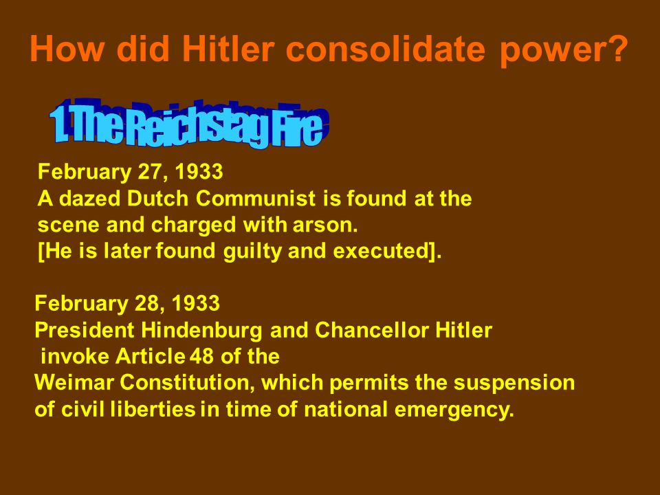 How did Hitler consolidate power? February 27, 1933 A dazed Dutch Communist is found at the scene and charged with arson. [He is later found guilty an