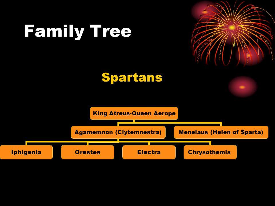 Family Tree King Atreus- Queen Aerope Agamemnon (Clytemnestra) IphigeniaOrestesElectraChrysothemis Menelaus (Helen of Sparta) Spartans