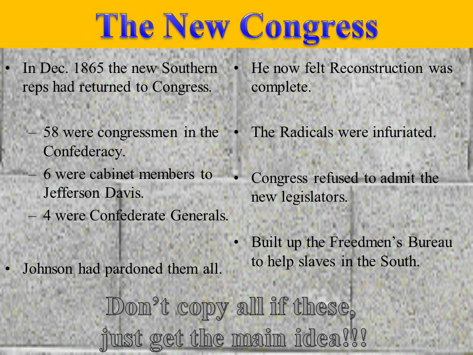 Johnsons Plan Southerners would be pardoned once they took the oath of loyalty. Confederate Leaders and people with over $20,000 needed to get special