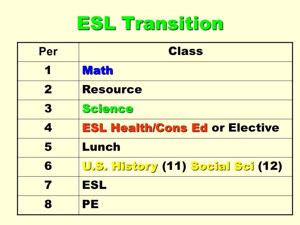 ESL Transition Per Class 1Math 2Resource 3Science 4 ESL Health/Cons Ed ESL Health/Cons Ed or Elective 5Lunch 6 U.S. HistorySocial Sci U.S. History (11