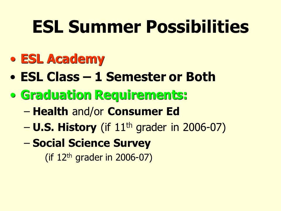 ESL Summer Possibilities ESL AcademyESL Academy ESL Class – 1 Semester or Both Graduation Requirements:Graduation Requirements: –Health and/or Consumer Ed –U.S.