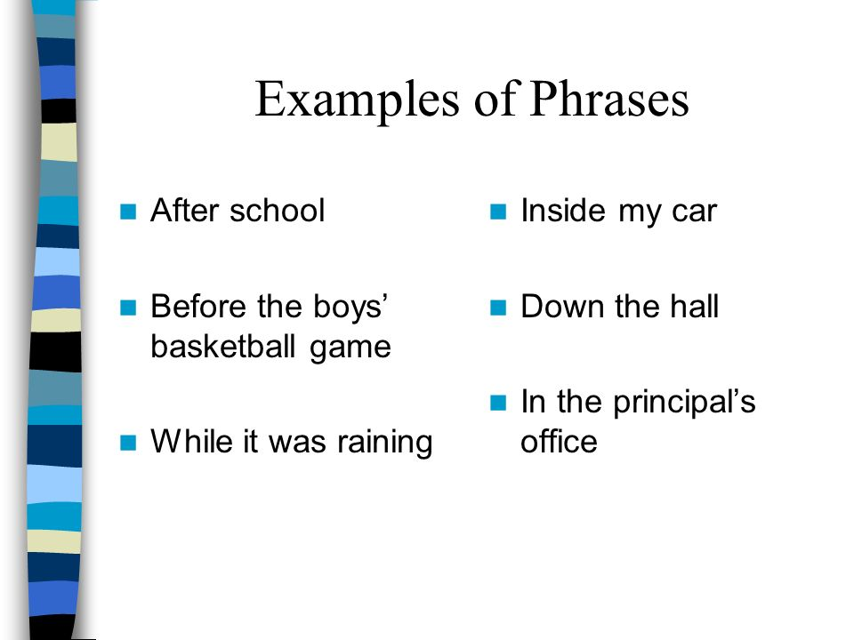 What is a Phrase? A phrase is a part of a sentence which does not contain its own subject and predicate. –The subject of the sentence usually tells wh