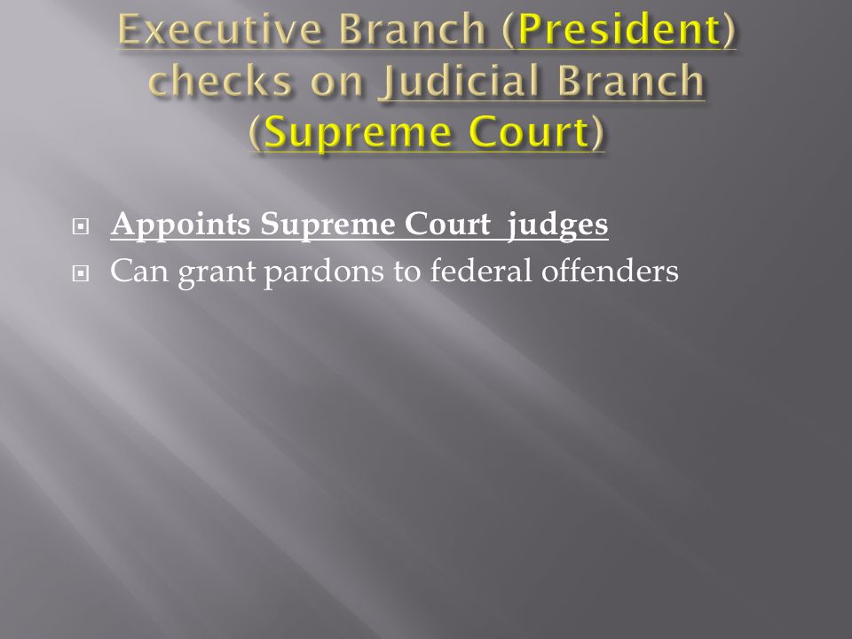 Appoints Supreme Court judges Can grant pardons to federal offenders
