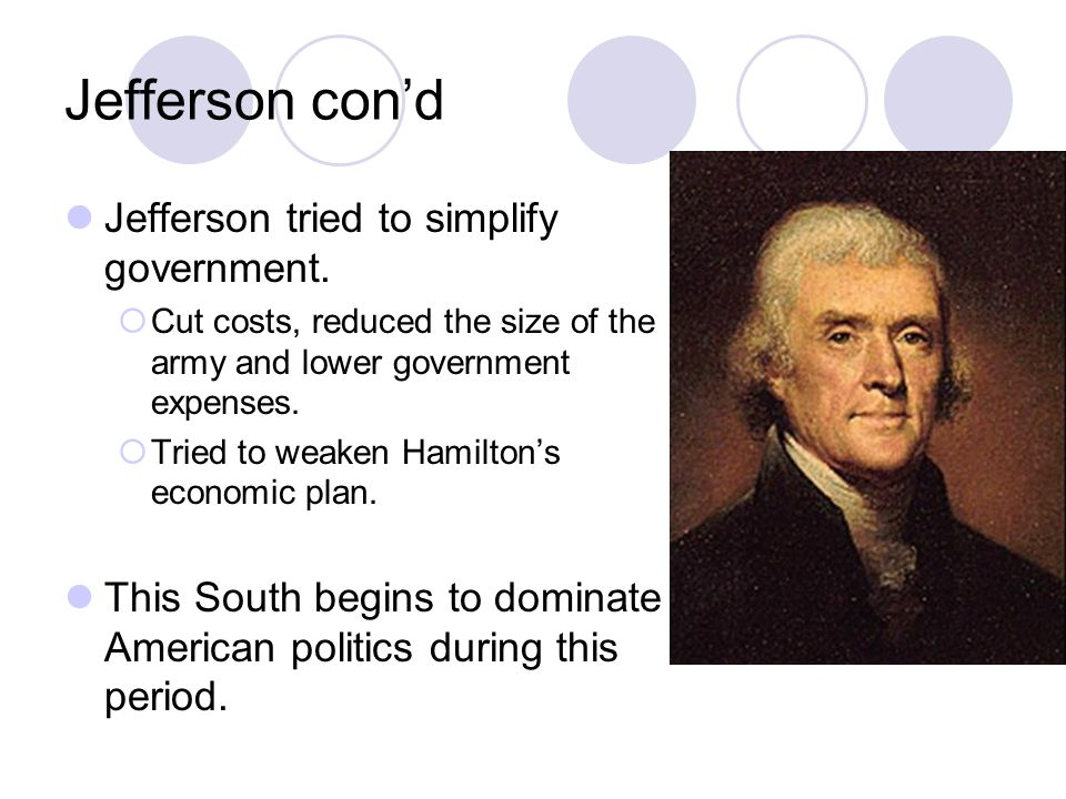 Jefferson cond Jefferson tried to simplify government.