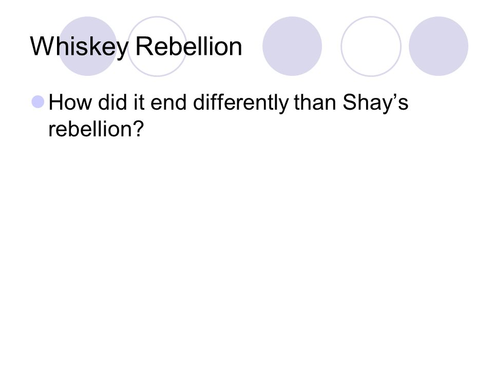 Whiskey Rebellion How did it end differently than Shays rebellion