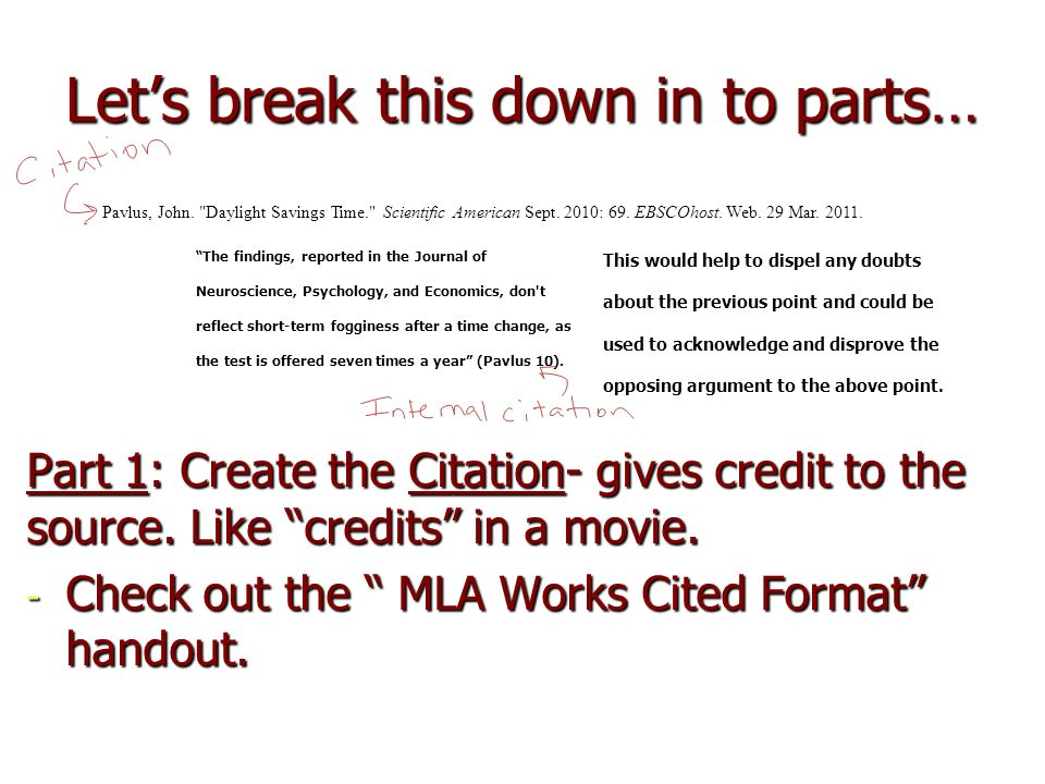 Lets break this down in to parts… Part 1: Create the Citation- gives credit to the source.