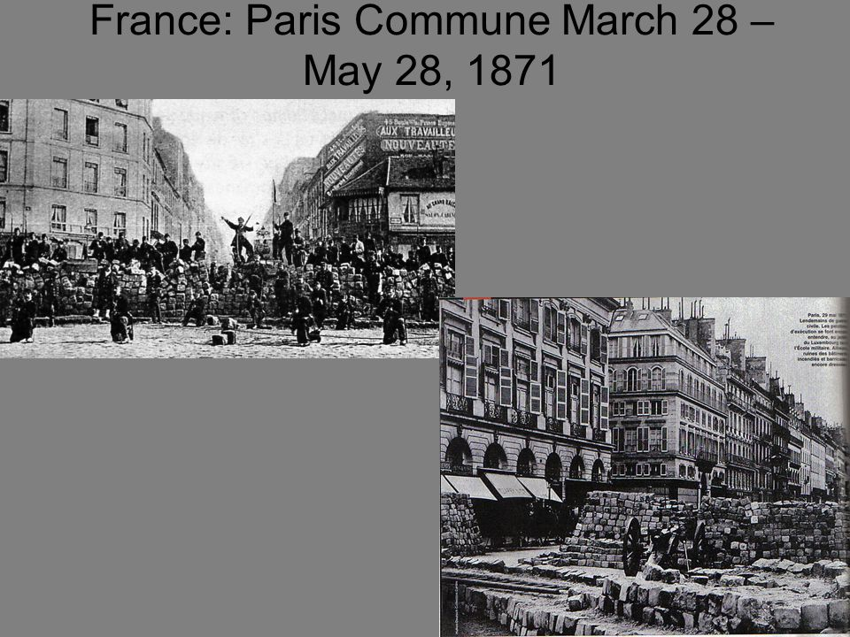 Liberal Paris vs. the Conservative Provinces Radicals, military personnel, students, revolutionaries.. Lived off of Zoo animals and supplies brought i