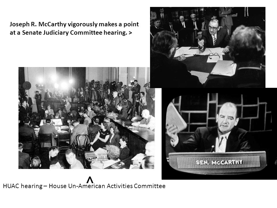HUAC hearing – House Un-American Activities Committee Joseph R. McCarthy vigorously makes a point at a Senate Judiciary Committee hearing. > ^