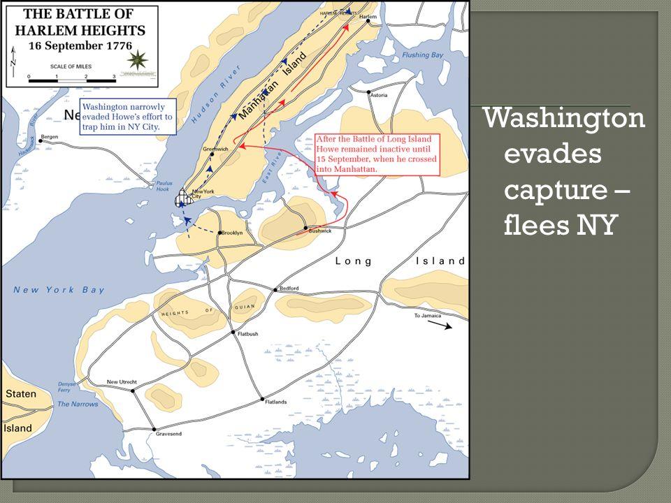 Washington evades capture – flees NY