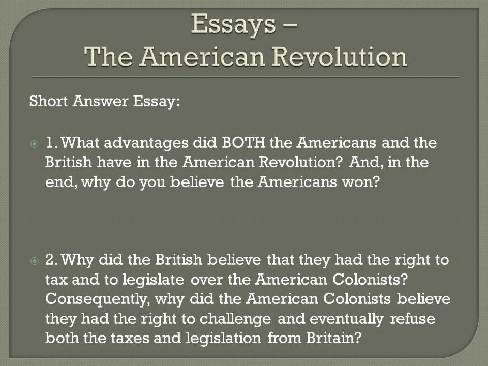 Short Answer Essay: 1.