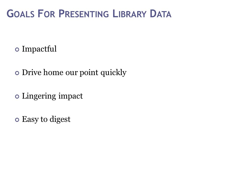 G OALS F OR P RESENTING L IBRARY D ATA Impactful Drive home our point quickly Lingering impact Easy to digest