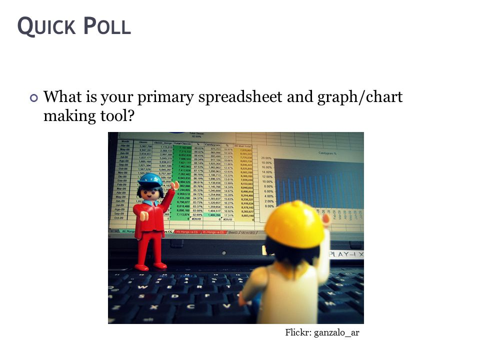Q UICK P OLL What is your primary spreadsheet and graph/chart making tool Flickr: ganzalo_ar