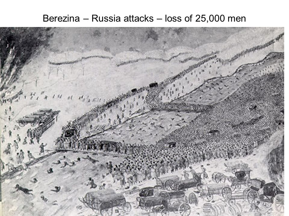 Berezina – Russia attacks – loss of 25,000 men