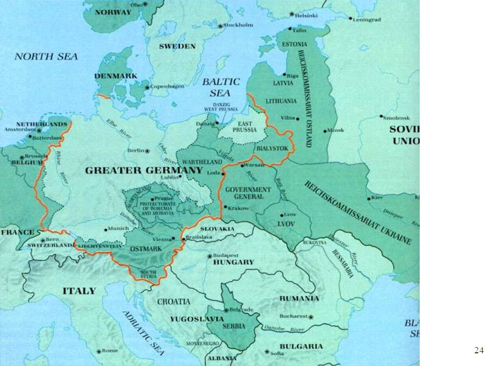 2/13/2014 23 Lebensraum = Living space Germany lost a lot of land after WWI.