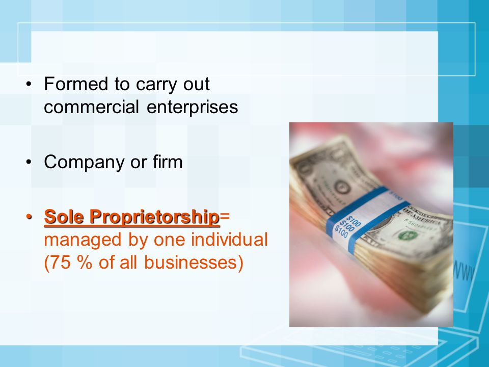 Formed to carry out commercial enterprises Company or firm Sole ProprietorshipSole Proprietorship= managed by one individual (75 % of all businesses)