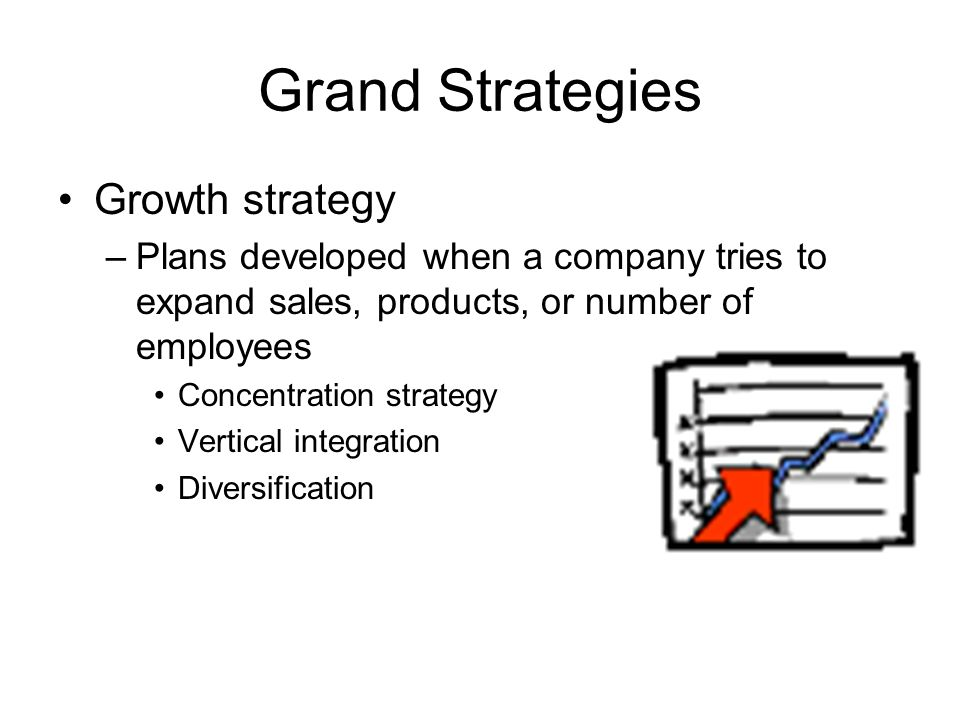 Grand Strategies Growth strategy –Plans developed when a company tries to expand sales, products, or number of employees Concentration strategy Vertical integration Diversification