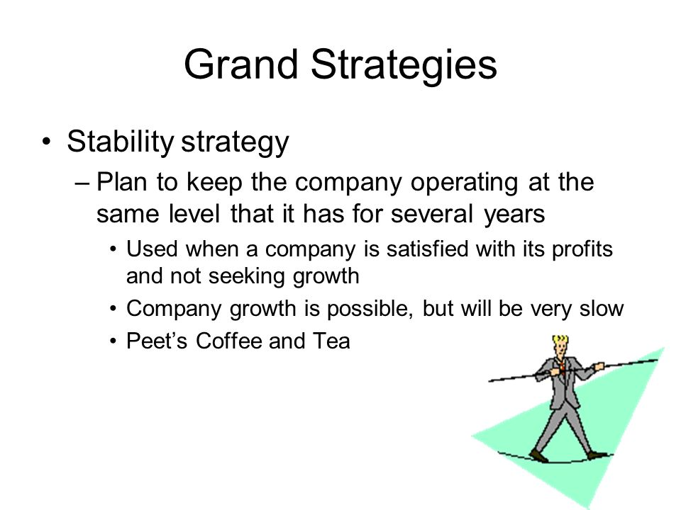 Grand Strategies Stability strategy –Plan to keep the company operating at the same level that it has for several years Used when a company is satisfied with its profits and not seeking growth Company growth is possible, but will be very slow Peets Coffee and Tea