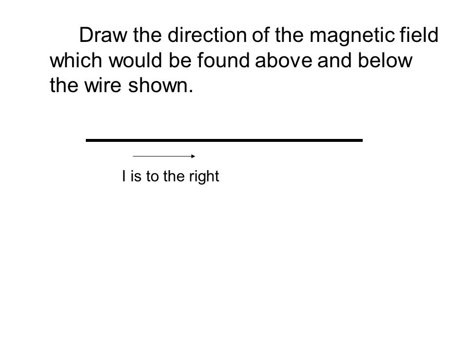Draw the direction of the magnetic field which would be found above and below the wire shown. I is to the right