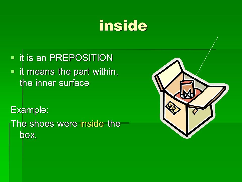 inside it is an PREPOSITION it is an PREPOSITION it means the part within, the inner surface it means the part within, the inner surfaceExample: The s