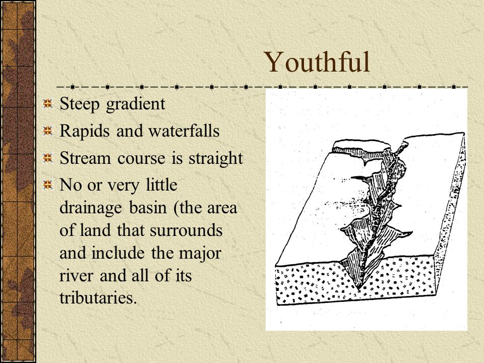 Youthful Steep gradient Rapids and waterfalls Stream course is straight No or very little drainage basin (the area of land that surrounds and include