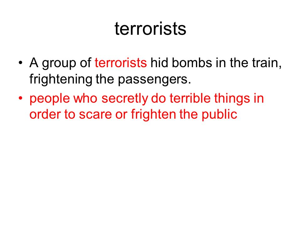 terrorists A group of terrorists hid bombs in the train, frightening the passengers. people who secretly do terrible things in order to scare or frigh