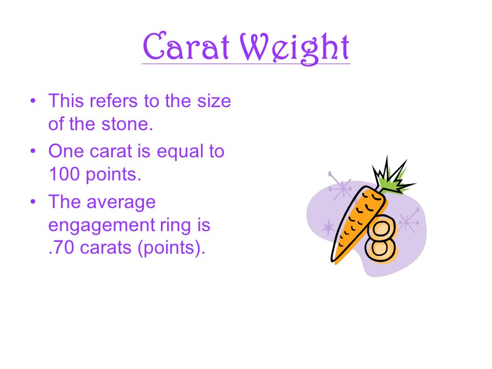 Carat Weight This refers to the size of the stone.