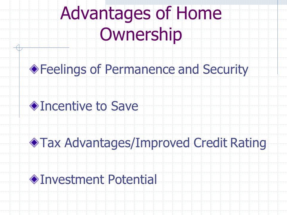Advantages of Home Ownership Feelings of Permanence and Security Incentive to Save Tax Advantages/Improved Credit Rating Investment Potential