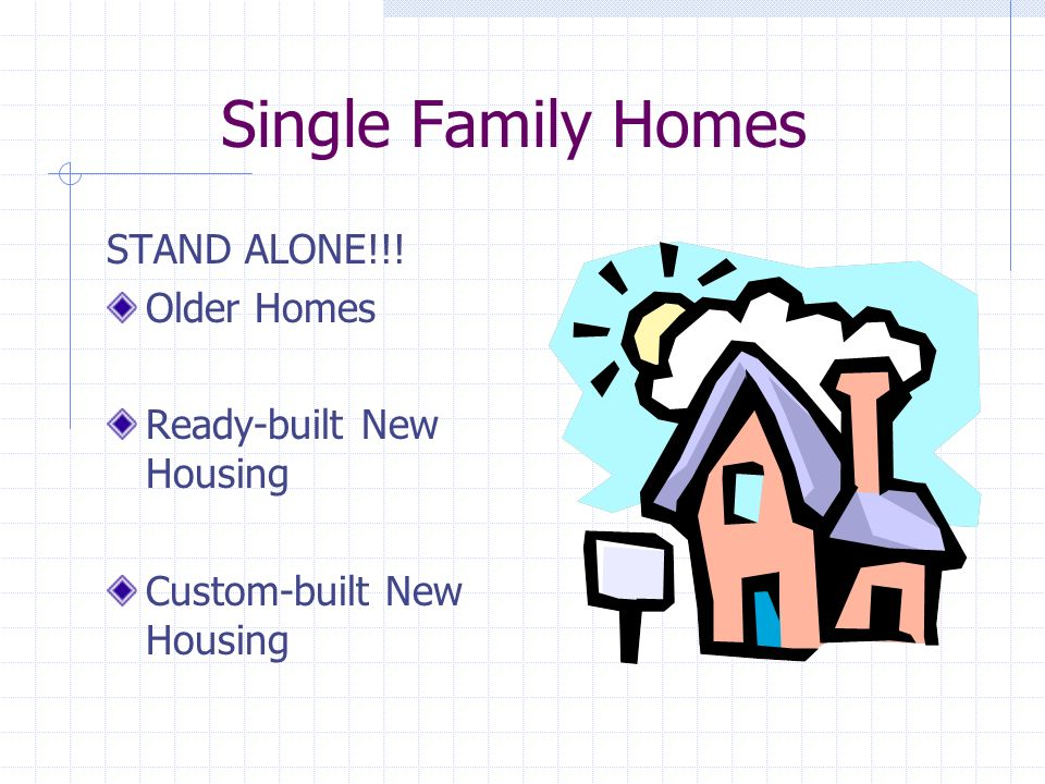 Single Family Homes STAND ALONE!!! Older Homes Ready-built New Housing Custom-built New Housing