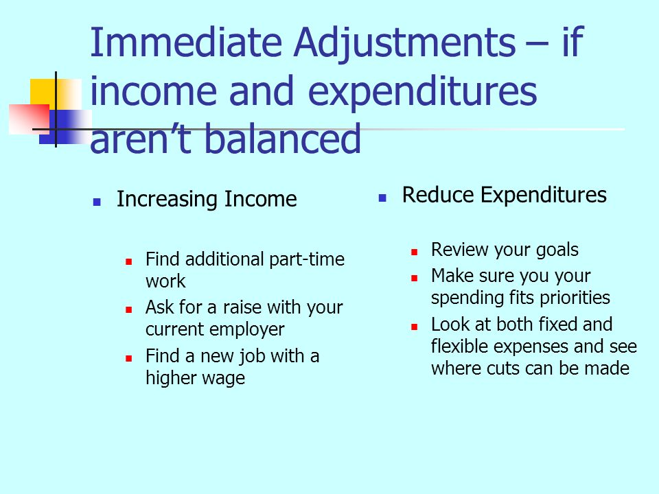 Revising A Budget At the end of a budgeting period, you should check to see if expenses and income balance If there is money left over… What are you going to do with it.