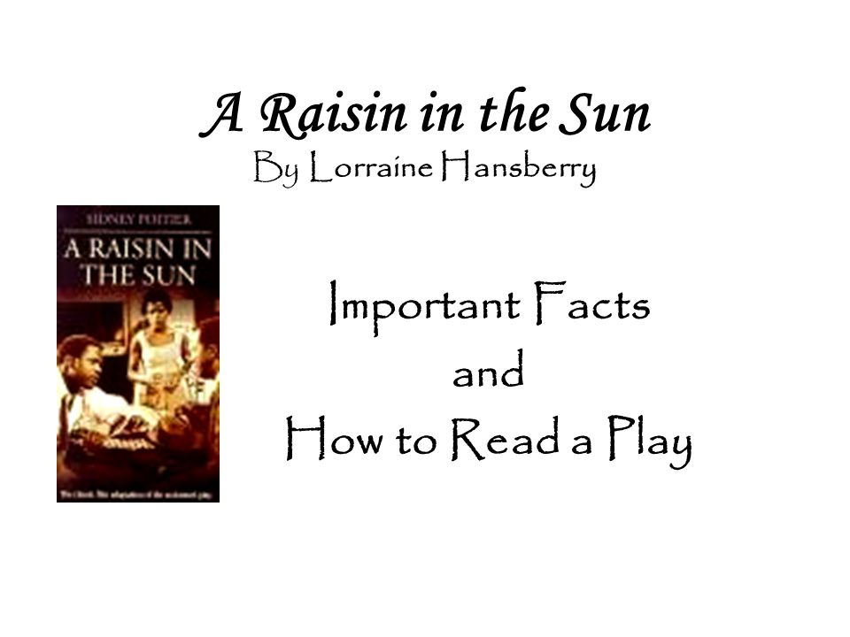 A Raisin in the Sun By Lorraine Hansberry Important Facts and How to Read a Play