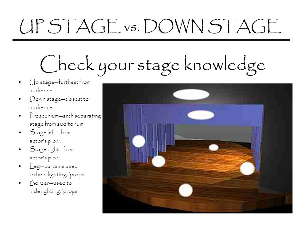 UP STAGE vs. DOWN STAGE Check your stage knowledge Up stagefurthest from audience Down stageclosest to audience Prosceniumarch separating stage from a